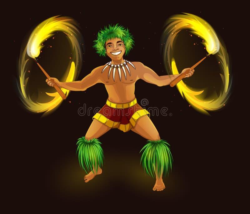 Dançarino havaiano com as tochas impetuosas no vestido nacional tradicional Mostra da dança e do fogo de Hula ilustração do vetor