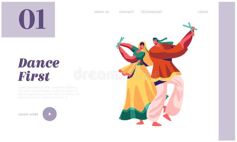 Dançarino indiano Performing na página da aterrissagem do festival Dança do homem e da mulher no traje na Índia exótica Senhora e ilustração do vetor