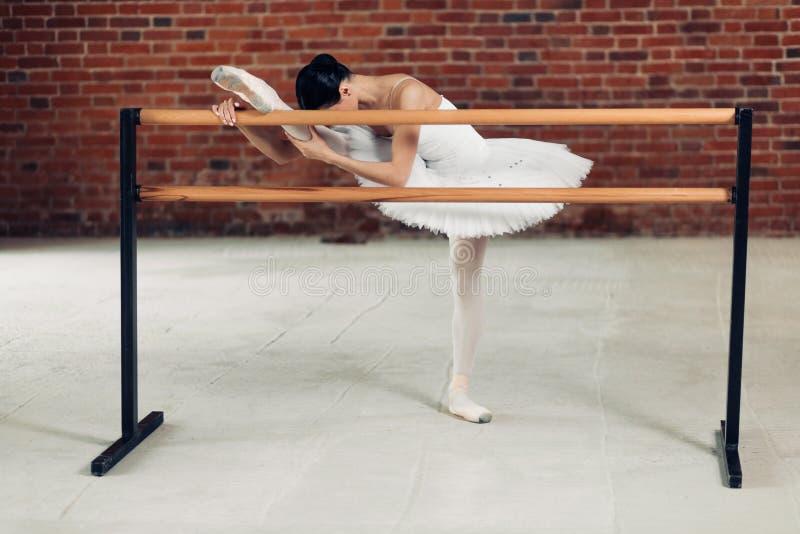 Dançarino magro impressionante novo que aquece-se durante o treinamento fotos de stock