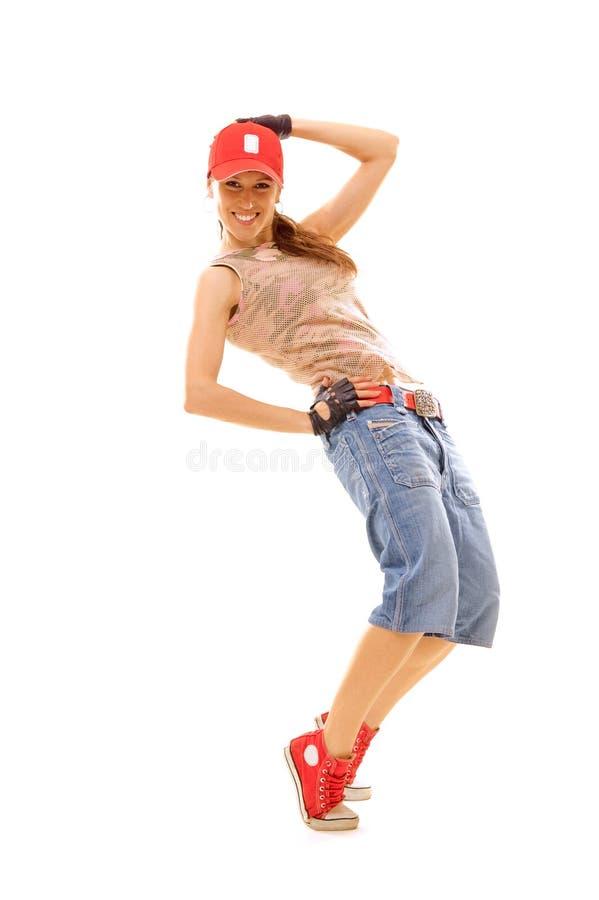 Dançarino magro no tampão vermelho fotografia de stock