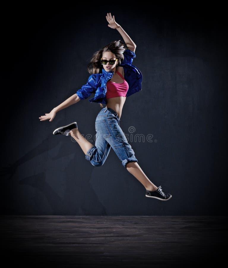 Dançarino moderno da moça (ver escuro) fotografia de stock royalty free
