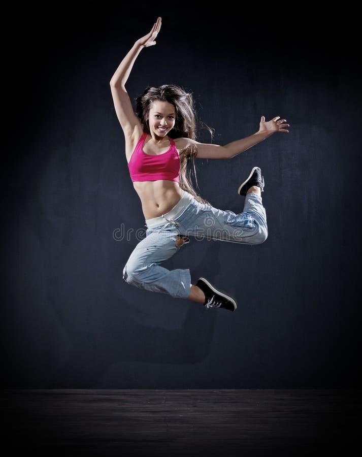 Dançarino moderno da moça (ver escuro) imagens de stock royalty free