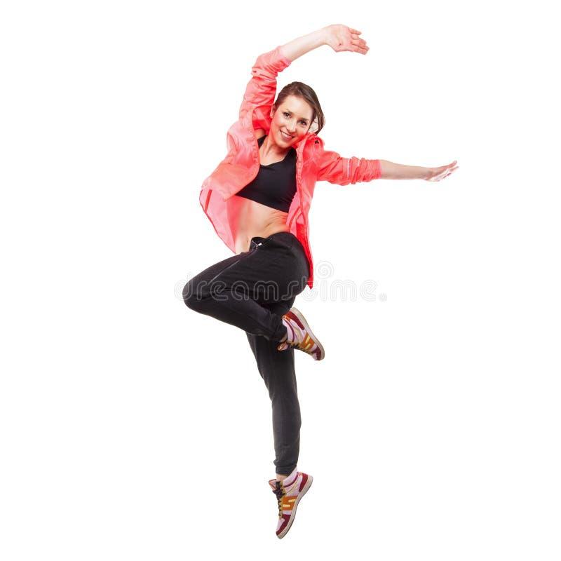 Dançarino moderno do estilo que levanta no fundo do branco do estúdio foto de stock royalty free