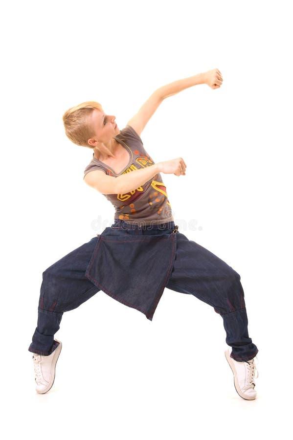Dançarino no quarto branco fotos de stock royalty free