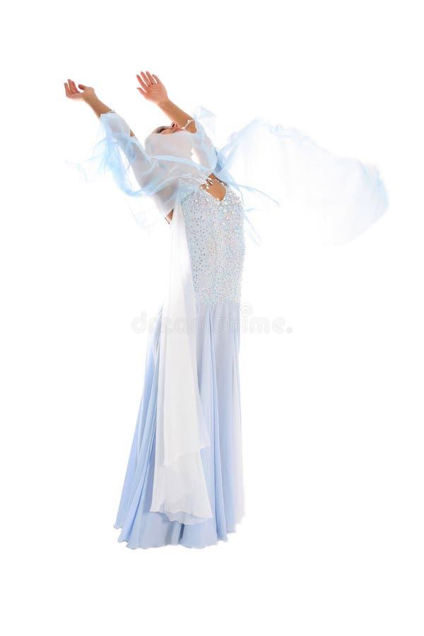 Dançarino no vestido azul-branco fotografia de stock