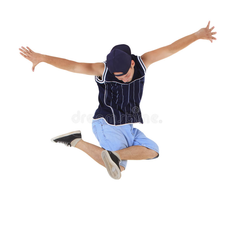 Dançarino novo de hip-hop sobre o branco imagem de stock