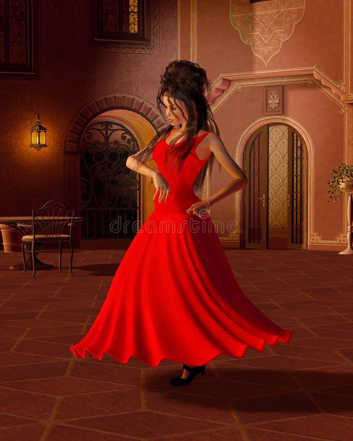 Dançarino novo do Flamenco em um pátio espanhol ilustração stock
