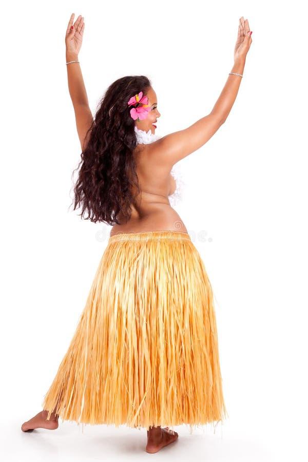 Dançarino novo do hula visto de atrás foto de stock