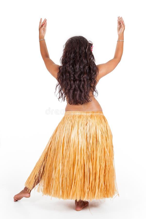 Dançarino novo do hula visto de atrás foto de stock royalty free