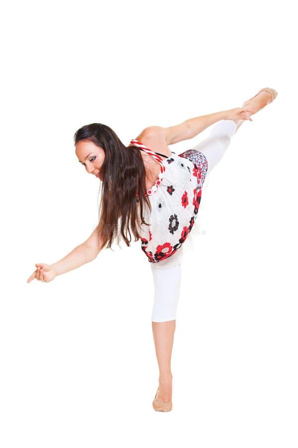 Dançarino novo sobre o fundo branco imagem de stock