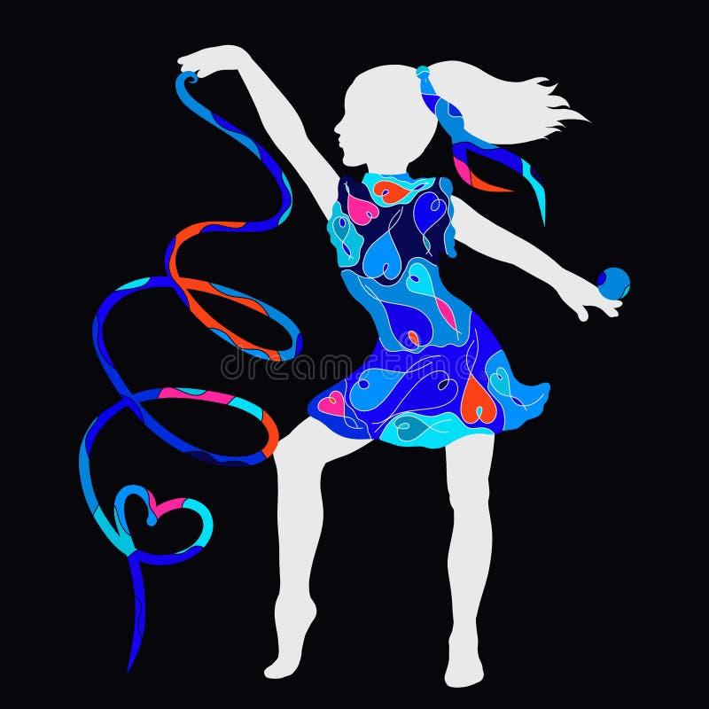 Dançarino ou ginasta nova com bola e fita, romântico criativo ilustração stock