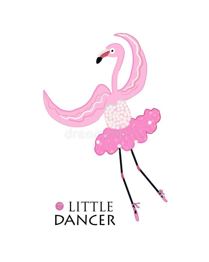 Dançarino pequeno Flamingo da bailarina da dança Projeto da camisa da forma t ilustração royalty free