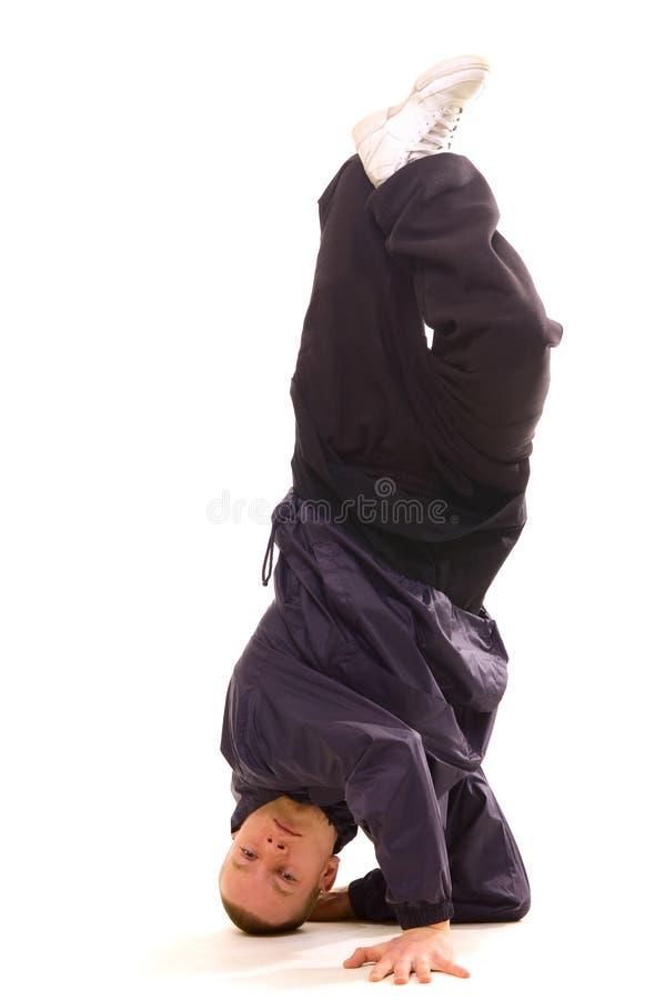 Dançarino que está na cabeça fotografia de stock