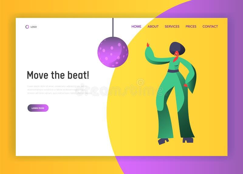 Dançarino retro Character Website Template do disco Estilo de vida de dança da mulher Conceito do evento da vida noturno para o W ilustração stock