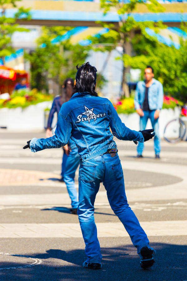 Dançarino Rockabilly masculino Back Jean Yoyogi Park Tokyo fotos de stock royalty free