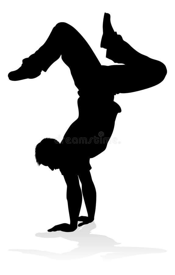 Dançarino Silhouette da dança da rua ilustração stock