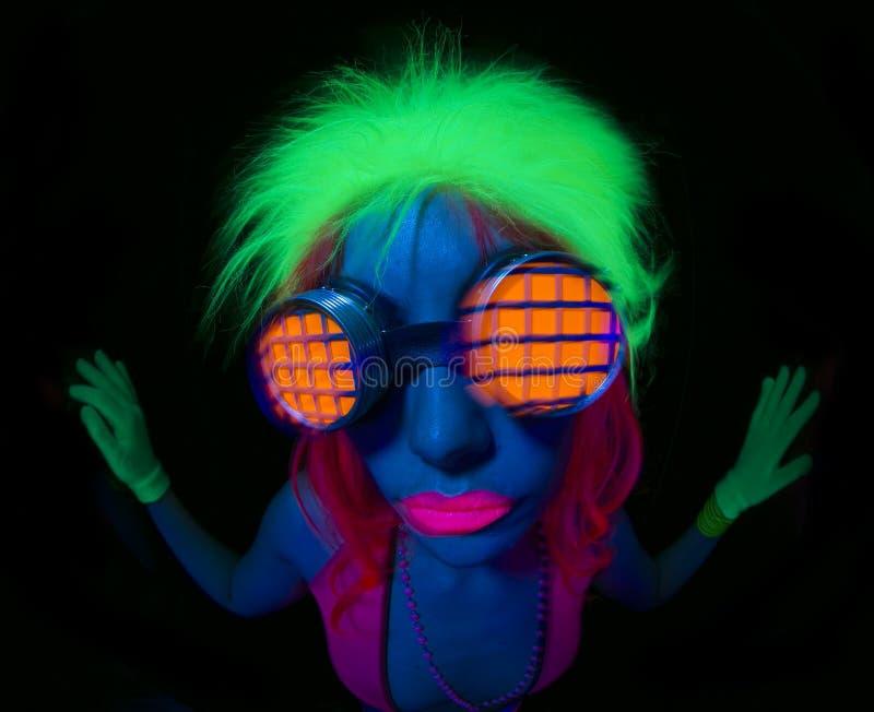 Dançarino uv de néon 'sexy' do fulgor imagens de stock royalty free