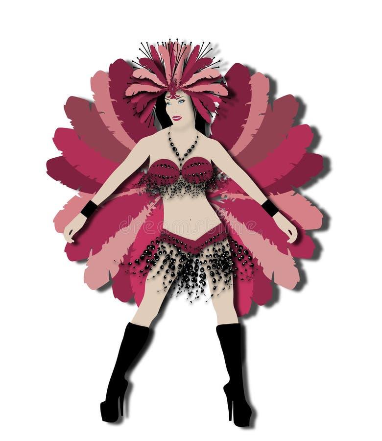 Dançarino vermelho do carnaval ilustração do vetor