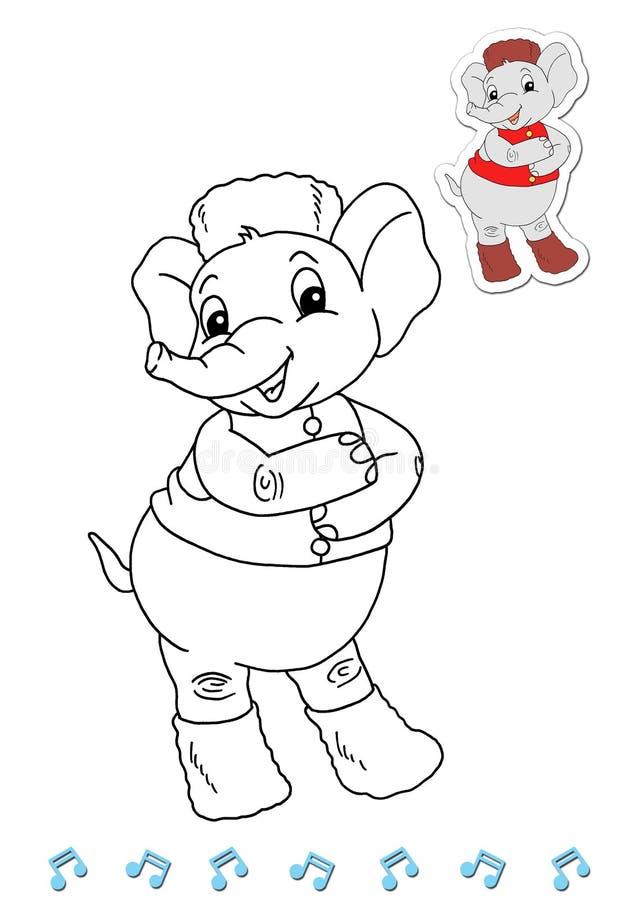 Dançarinos animais 11 do livro de coloração - elefante ilustração stock