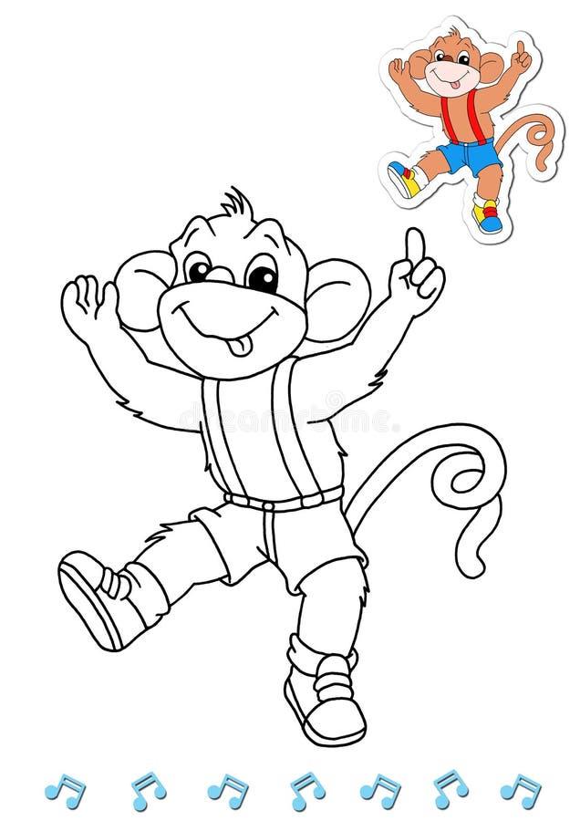 Dançarinos animais 12 do livro de coloração - macaco ilustração do vetor