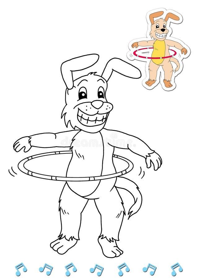 Dançarinos animais 13 do livro de coloração - cão ilustração stock