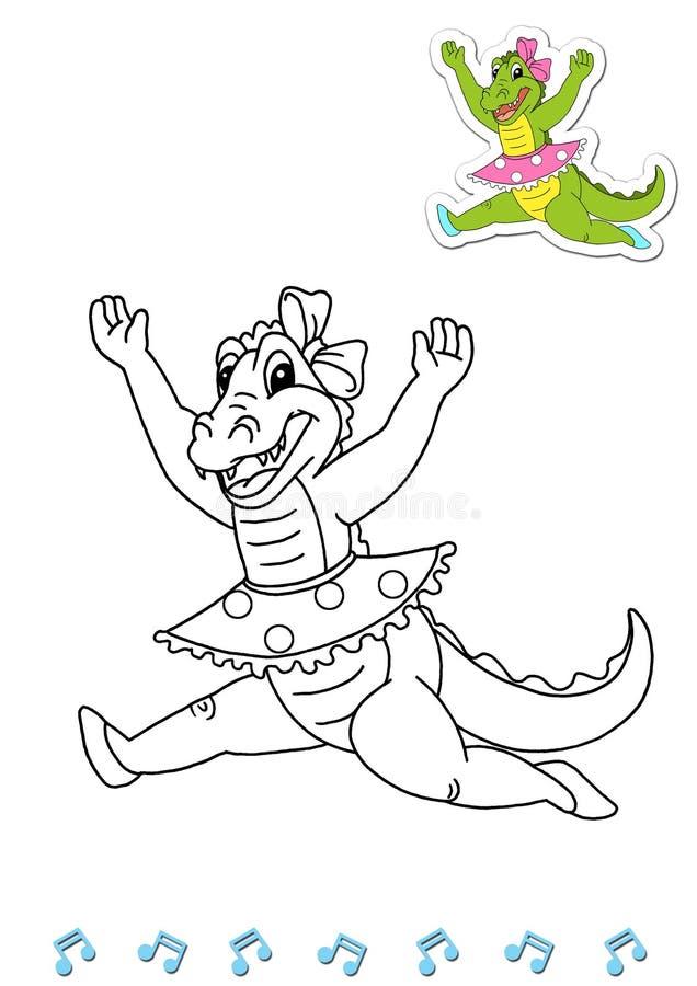 Dançarinos animais 3 do livro de coloração - crocodilo ilustração royalty free