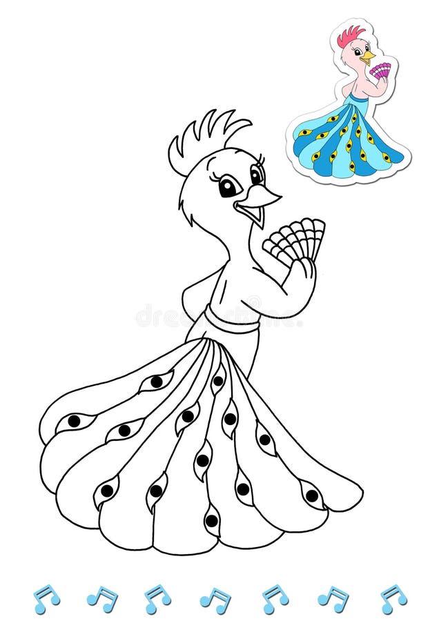 Dançarinos animais 4 do livro de coloração - pavão ilustração royalty free