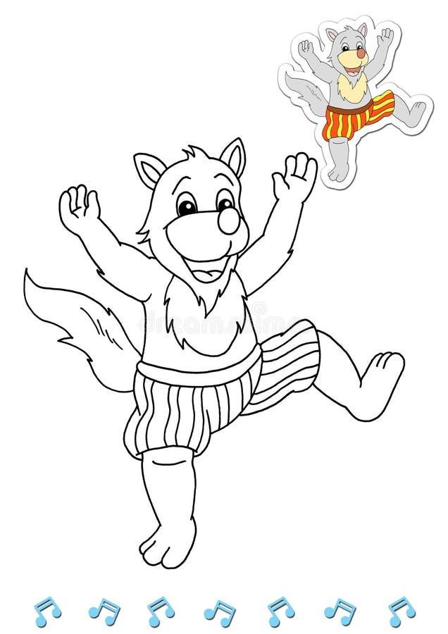 Dançarinos animais 5 do livro de coloração - lobo ilustração do vetor