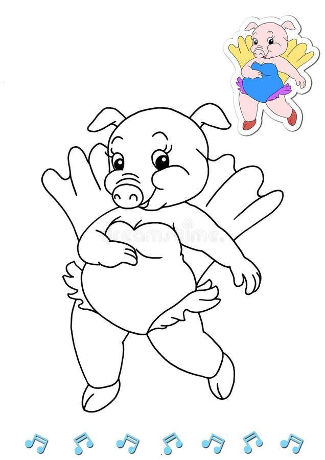 Dançarinos animais 6 do livro de coloração - porco ilustração do vetor