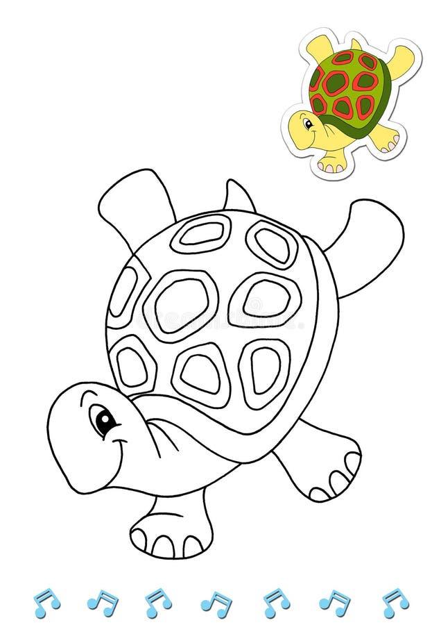 Dançarinos animais 8 do livro de coloração - tartaruga ilustração royalty free