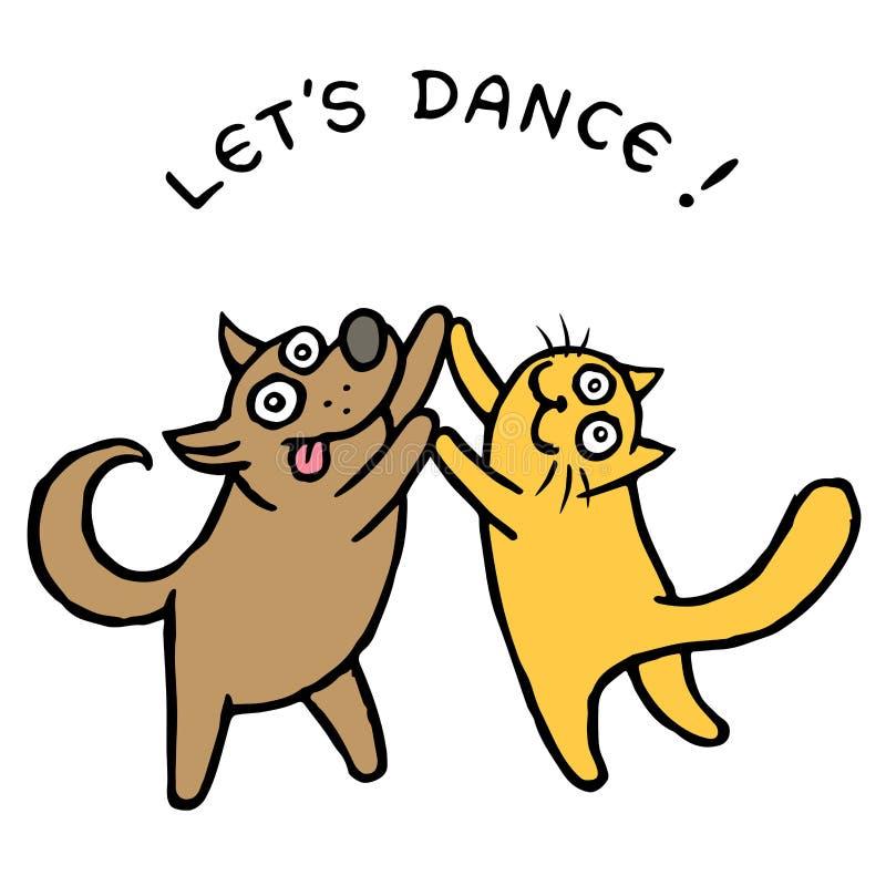 Dançarinos bonitos do cão e gato Ilustração do vetor ilustração do vetor