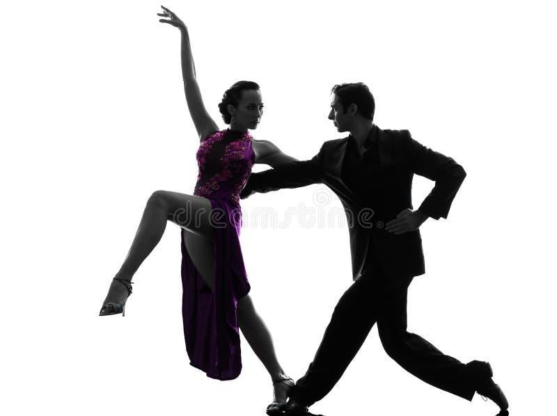 Dançarinos do salão de baile da mulher do homem dos pares que tangoing a silhueta imagens de stock royalty free