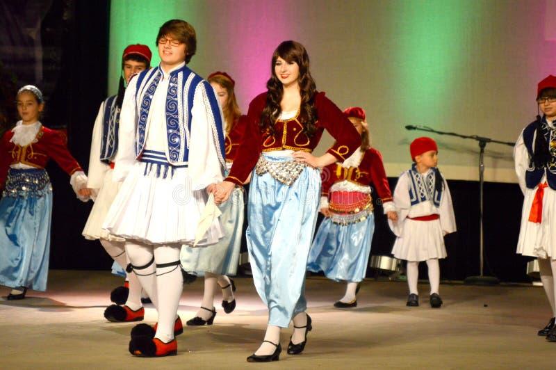 Dançarinos da juventude de Helenic do grego fotografia de stock royalty free