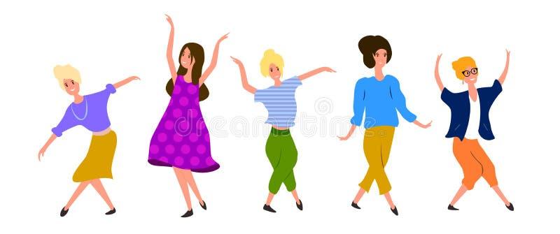 Dançarinos das mulheres da coleção isolados no fundo branco jogo O partido fêmea aprecia no estilo dos desenhos animados ilustração do vetor