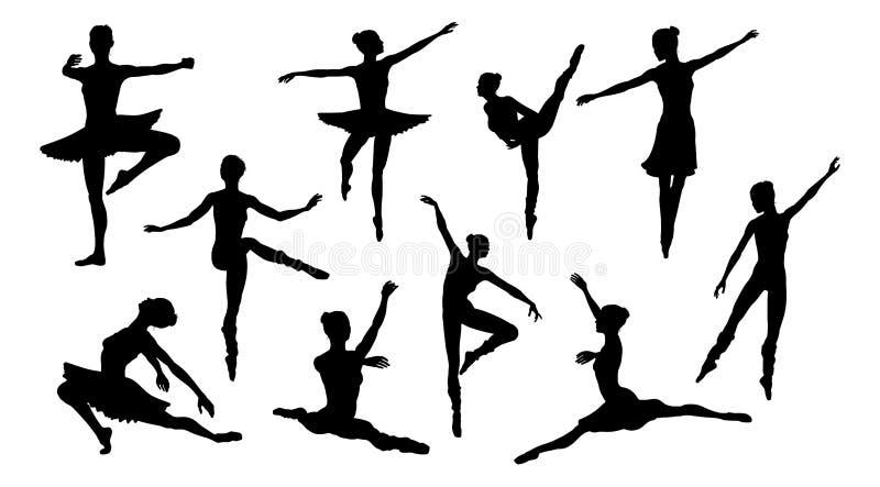 Dançarinos de bailado da silhueta ilustração royalty free