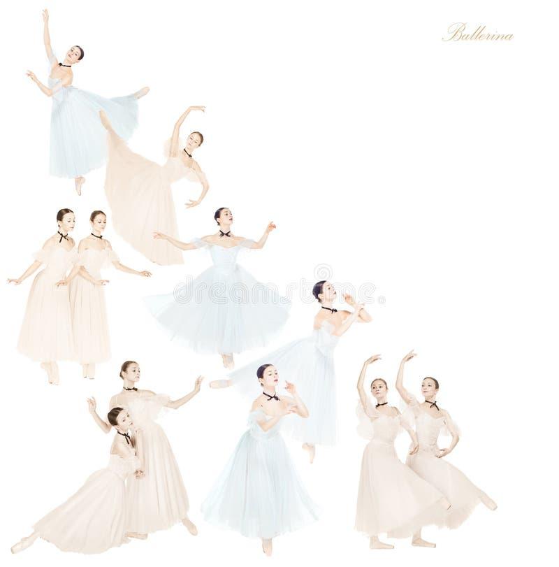 Dançarinos de bailado fêmeas graciosos novos, colagem criativa fotografia de stock