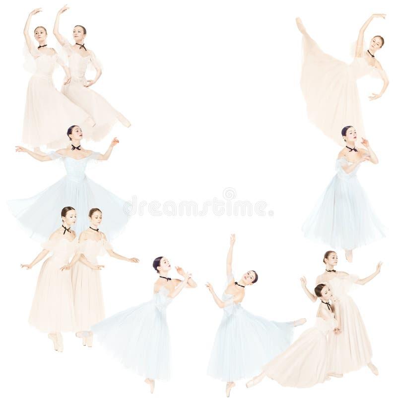Dançarinos de bailado fêmeas graciosos novos, colagem criativa imagem de stock royalty free