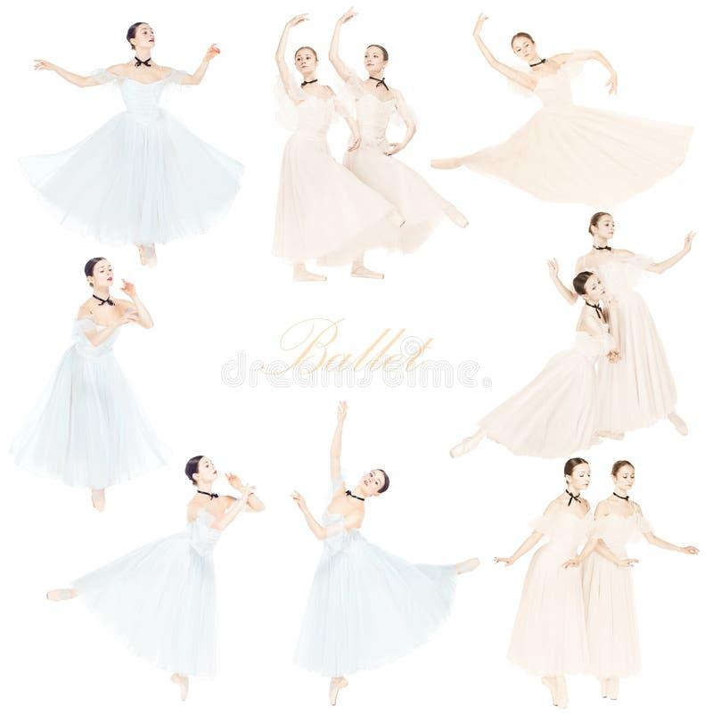 Dançarinos de bailado fêmeas graciosos novos, colagem criativa imagens de stock