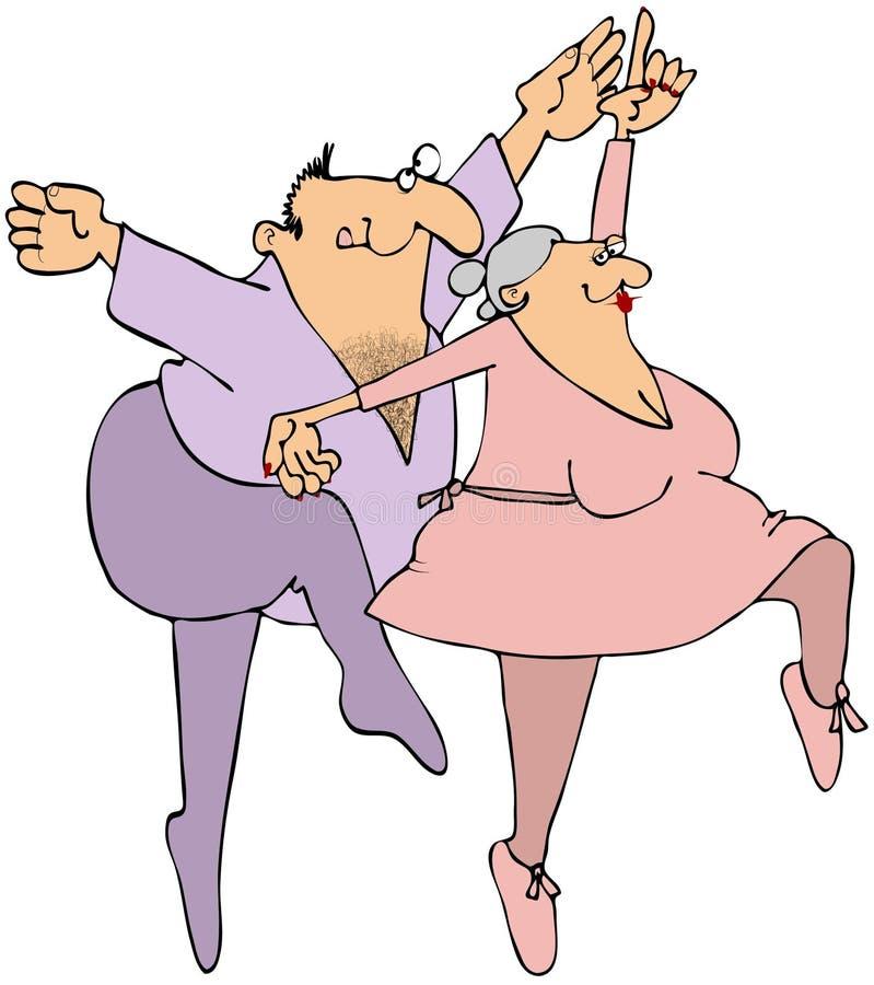 Dançarinos de bailado idosos ilustração stock