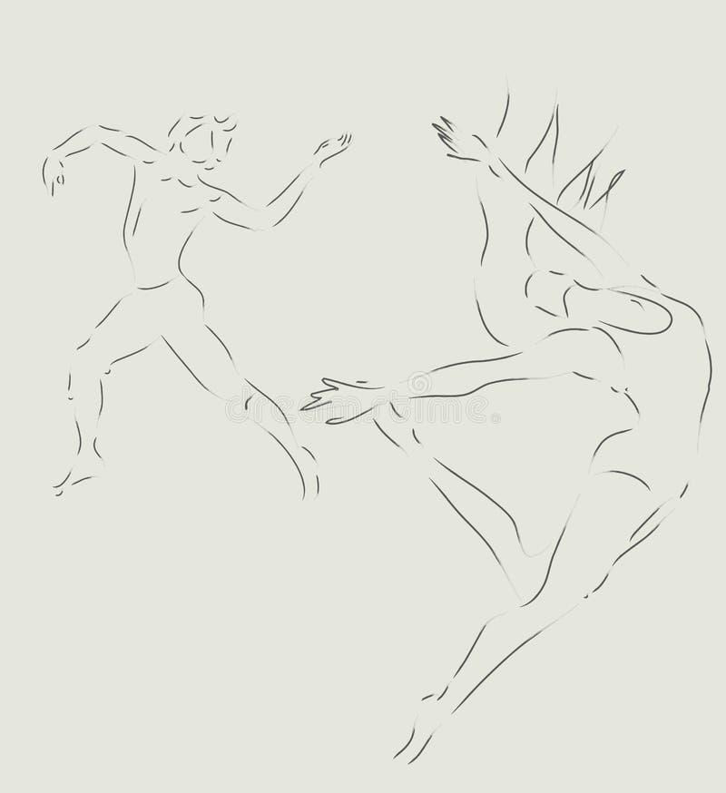 Dançarinos de bailado moderno ilustração do vetor