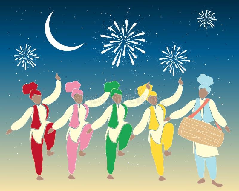 Dançarinos de Bhangra ilustração do vetor