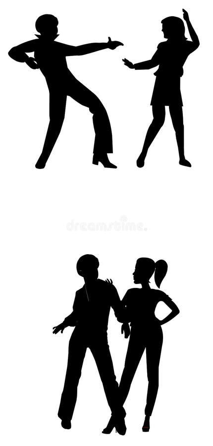 80; dançarinos do disco de s ilustração royalty free