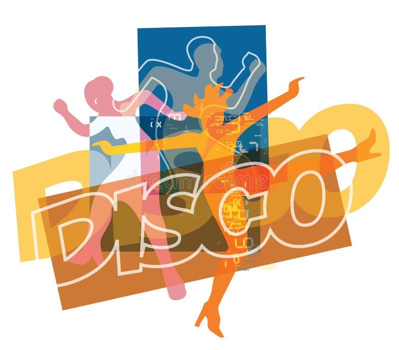 Dançarinos do partido de disco ilustração do vetor