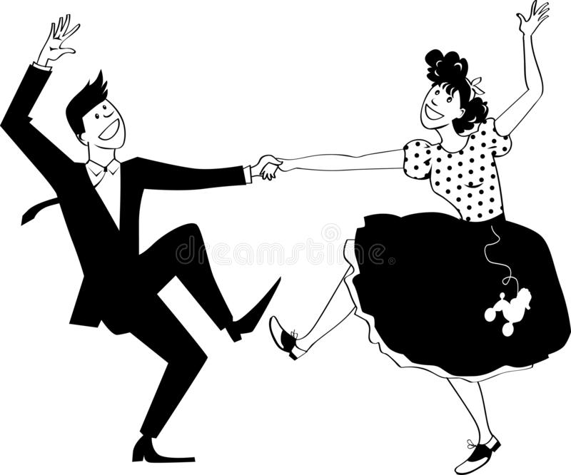 Dançarinos do rock and roll ilustração stock