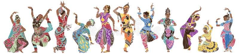 11 dançarinos indianos ilustração do vetor