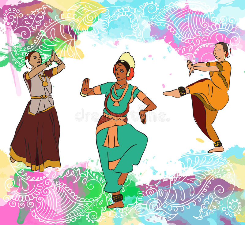 Dançarinos indianos ajustados ilustração royalty free