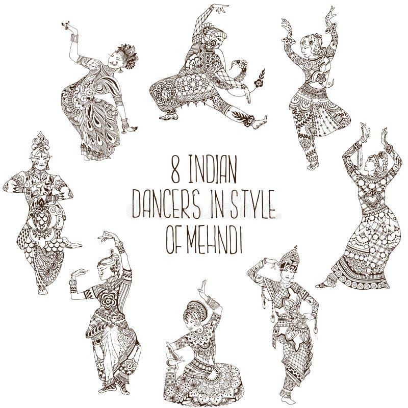 Dançarinos indianos diferentes ilustração stock