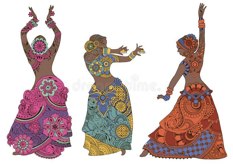 Dançarinos indianos no fundo branco ilustração royalty free