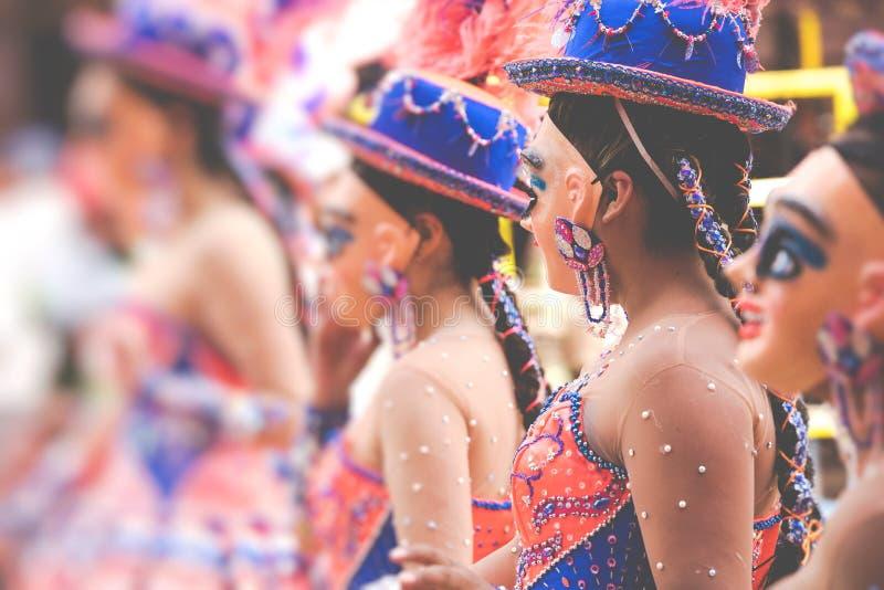 Dançarinos no carnaval de Oruro em Bolívia, UNESCO declarado cultural foto de stock royalty free