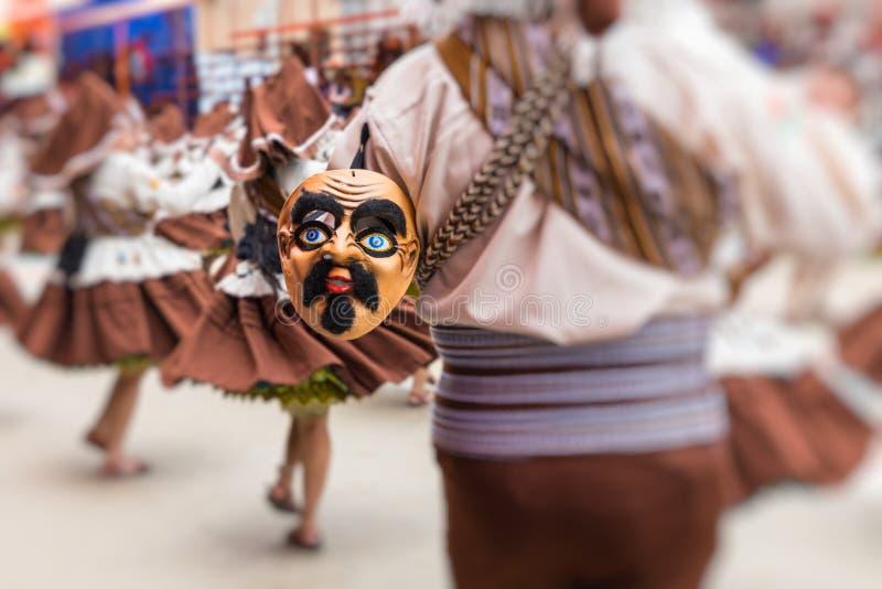 Dançarinos no carnaval de Oruro em Bolívia, UNESCO declarado W cultural imagens de stock royalty free